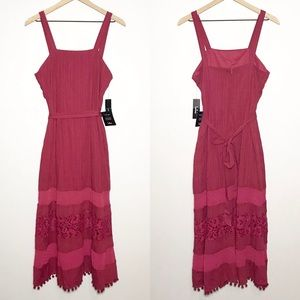 NWT Lulu's Sleeveless Lace Hem Boho Maxi Dress
